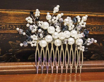 White grey comb, hair accessory, hair beads, bride jewelry, decorative comb, wedding hair, wedding hair accessory, wedding Jewellery,
