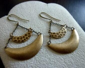Brass Ox Crescent Chain Earrings, Crescent Moon Earrings, Shield Errings, Boho Chic, Bohemian, Chandelier Earrings, Dangle, Tribal