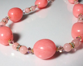 Pink Dolomite, Jade and Crystal Necklace N1123