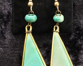 PE # 100 Vintage Gold Tone and Green (Jade-Like) Dangle Earrings