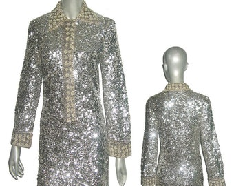 Vintage Rare Made In Hong Kong For Sigal's Park Ave New York 100% Wool Silver Sequins & Beads Embellished Dress