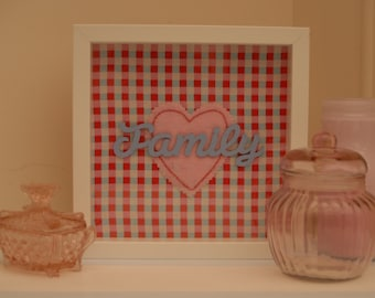 Family Box Frame - Pink Red and Blue