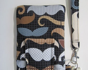 "Moustache Smartphone Wristlet, , Fits iPhone 5, SE, and Smartphones up to 5.25"" x 2.75"", Mustache Cell Phone Pouch, Keyring, Pocket"