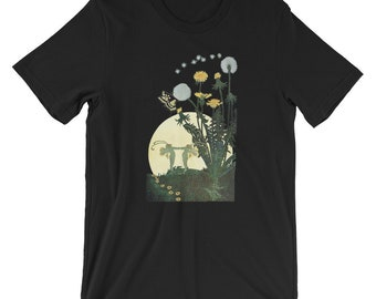 Fantasy Fairy Garden T-shirt Fae Dancing in the full moon at Twilight Flowers and Dandelions Elf Pixie Sprite Silhouette Celebration