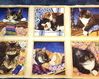Wilmington Fabrics - 6 Squares CAT PANEL - Pillow Panels, Wallhanging - Cats - Kittens - Novelty - Quilt Shop Quality - 100% Cotton Fabric