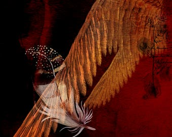 Fine Art Print  of 'Wings'. Wings, feathers, abstract art, spiritual, wall decor, JoWalshArt