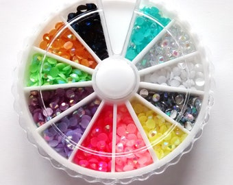 AB Rhinestone cabochon storage wheel, resin filler, whip toppings, decoden, quality cabs, glue on embellishment whipped cream toppings,
