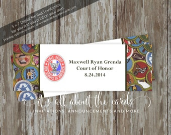 """Eagle Scout Court of Honor Candy Wrappers-""""Virtues"""" Customized Design -Digital File"""