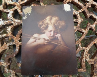 Vintage Picture To Repurpose No. 1899 Cupid Asleep For Framing Or Art Project