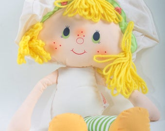 Kenner, Strawberry Shortcake, Vintage, Doll, Soft, Stuffed, Undressed, Yellow Yarn Hair, Hat, Rag doll Striped Legs ~ The Pink Room ~ 170527