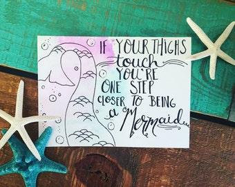 Mermaid card, friendship card, encouragment card, greeting card, watercolor card