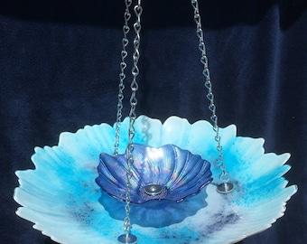 Birdfeeder, Hanging Bird Feeder, Hanging Blue Flower Bird Feeder With Blue Center, Retirement Gifts For Men & Women, Hanging Yard Decor