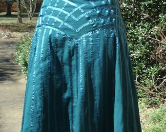 VINTAGE HIPPIE SKIRT, Teal Turquoise Blue India Cotton, Knee-Length, Ribbonwork decoration, Boho Chic, gypsy bohemian, summer festival wear