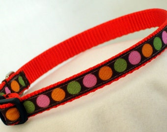 Small Dog Collar - Polka Dot - 7/16 Inch Wide - Adjusts 8-12 Inches - Narrow - Toy - Tiny - Teacup - Puppy - XS Dog Collar - Ready To Ship