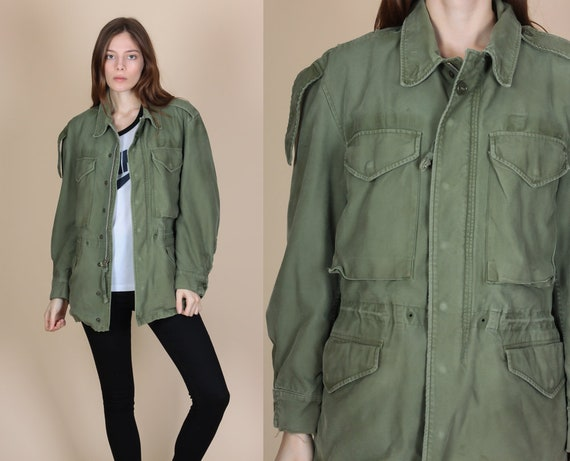 Vintage Olive Drab Distressed Commando Coat vWC2OlOFS
