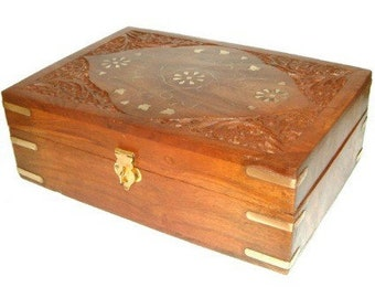 Carved Wooden Aromatherapy Box - Holds 24 x 10ml