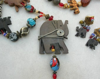 Fun African Safari Necklace, Elephant Pendant, Wild Animals & Bone/Glass/Wood/Ceramic Beads, Great Elephant Earrings, Set by SandraDesigns