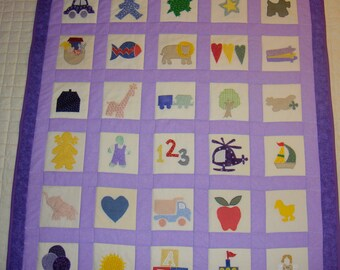Light purple on dark purple baby quilt