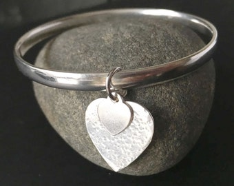 Sterling Silver Heart Bangle, Solid 925 Silver Bangle, Heart Charm Jewelry, Hammer Textured Bangle, Jewelry Gift For Her, Silver Jewellery