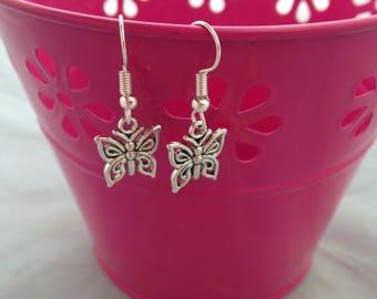 Butterfly Dangle Earrings, Pretty Flutterbye Drop Earrings, Fashion Jewellery, Stocking Fillers, Ladies Jewelry Items, Patterned Butterfly