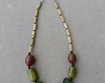 Tagua Chunky Beaded Necklace ~ Earth Tones Natural Jewelry ~ Olive Green and Brown Necklace ~ Organic Ecofriendly Sustainable Tagua Nut