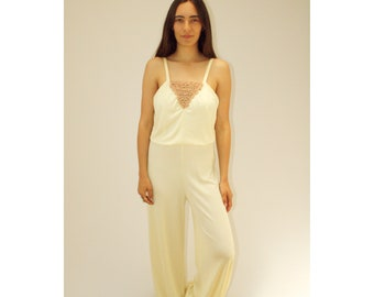 b2743ab55b4 Boogie Nights Jumpsuit    vintage dress boho sun high waist romper 1970s  hippie 70s ivory