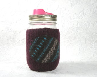 Jar Cozy - pint size - pokadot - maroon