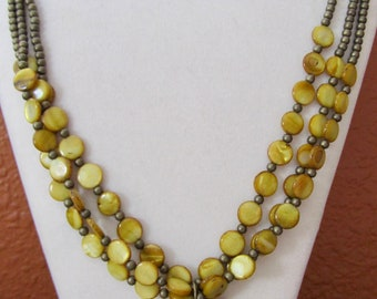 Shell and brass statement necklace