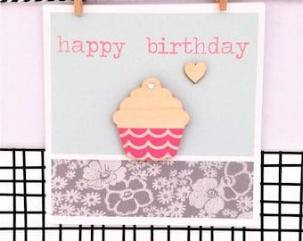Handmade Birthday Card - Happy Birthday, Cupcake Magnet, Greetings Card, Keepsake Card