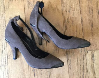 Gray Ankle Strap Shoes - Size 6