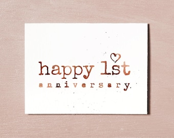 First Anniversary Card, Instant Download Printable, 1 Year Anniversary, Couples Card, Celebration Rose Gold Card, Anniversary Gift, Love You