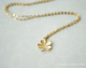 Best friend gift Shamrock necklace four leaf clover, luck necklace, good fortune necklace four leaf, Cute Gold Necklace, Lucky Gold Jewelry