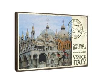 St. Mark's Basilica, Venice Italy with postmark - Oversized POSTCARD