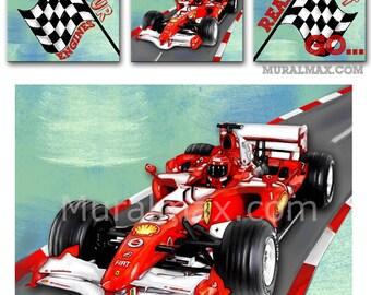Race Car Canvas Nursery Art Set, Race Car Wall Hanging,  Baby Boys Room Art Print , Canvas reproduction