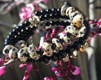 Wrap Bracelet Dalmatian Jasper and Onyx