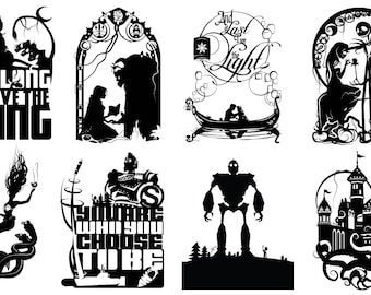 Prints of Will Pigg's Animated Films Silhouette Paper cuts on 100lb Stipple Paper see listing for designs available