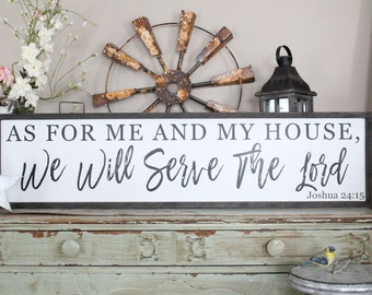 As For Me and My House, We Will Serve the Lord, Joshua 24:15 Framed Wood Sign, Christian Home Decor, Distressed Wood Sign, Bible Verse