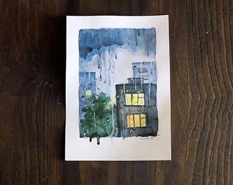 Rainy city evening original watercolor painting, blue art home office decor, rain