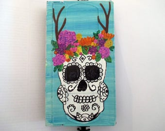 Day of the Dead painting - art on recycled Vhs Tape, , sugar skull, gothic wall art, halloween room decor, mexican, Rockabilly Art