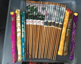 Japanese Wood with Scenery Hairsticks / Chopsticks-- 10 VARIATIONS--  with FREE Handmade Silk Holder