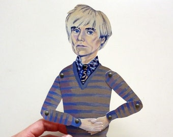 Andy Warhol Articulate Paper Doll - Paper Puppet - DIY Printable PDF - 80's