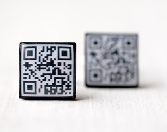 QR code cufflinks, Custom fathers day gift, Geek cufflinks, Custom cufflinks, Custom gift for him, Personalized cufflinks, Message cufflinks