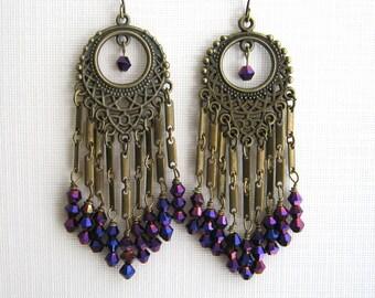 Long Brass and Purple Crystal Chandelier Earrings Long Purple Earrings