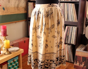 "vintage rayon tribal skirt with woodcut deer or gazelle and donkey print, made in Ireland . womens large xl 32"" waist"