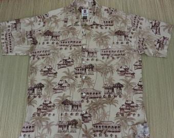 Vintage Hawaiian Shirt TORI RICHARD Asian Inspired Aloha Shirt Island Surfer Paradise Beach Huts Mens Camp - L - Oahu Le'w's Shirt Shack