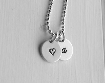 Letter a Necklace with Heart Charm, Sterling Silver Jewelry, Initial Necklace, Heart Necklace, Hand Stamped Jewelry, Monogram Necklace