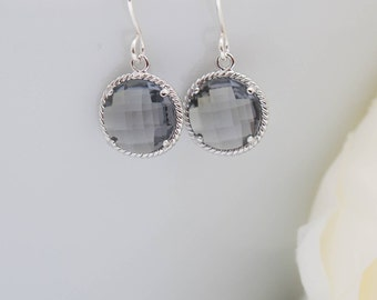 Earrings Silver Grey Round