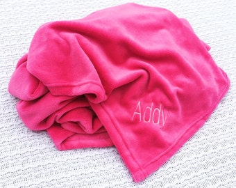 Personalized Plush Blanket- Monogrammed Plush Blanket- Embroidered Blanket