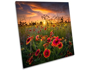 Sunset Wild Floral Flowers CANVAS WALL ART Square Print