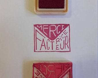 """Tampon fait-main """"Merci facteur/trice"""" pour votre courrier - tampon happy mail - décoration enveloppe - merci facteur - merci factrice"""